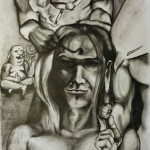 Dennie Boxem being turned into a Buddha and that's oke by Buddha, 2009, conte on paper, 65x50cm.
