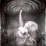 Smoking mermaid, 2009, conté on paper, 65x50cm.