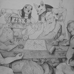 Not much at Risk, 2014, pencil on canvas, 240x140cm.